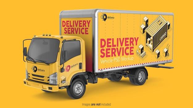 Vista prospettica del mockup del camion di consegna