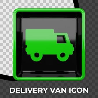 Icona del furgone di consegna 3d rendering isolato
