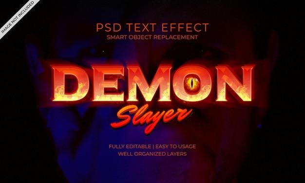 Effetto di testo del fuoco dell'ammazza demoni
