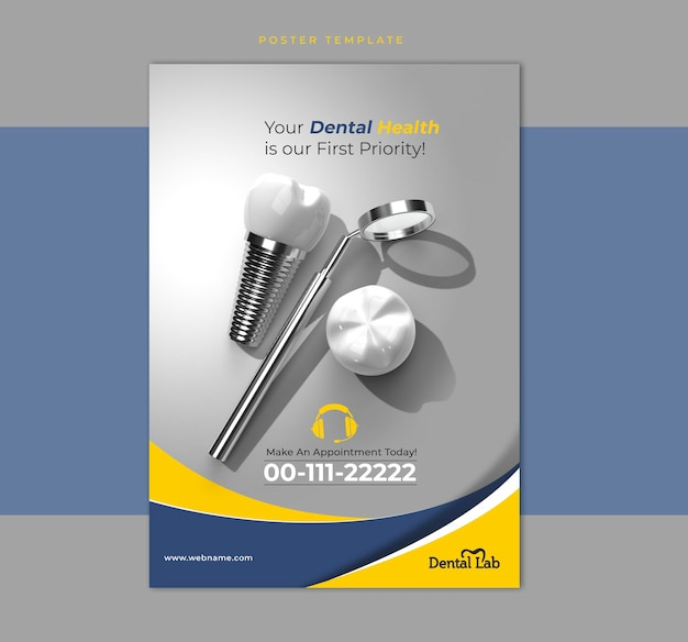 Modello dell'insegna del manifesto dell'aletta di filatoio del concetto di chirurgia degli impianti dentali.