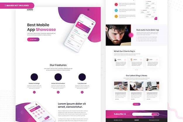 Design per la migliore pagina del sito web di app per dispositivi mobili