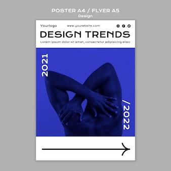 Modello di volantino e poster di tendenze di design