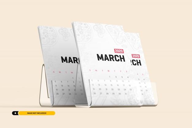 Calendario da tavolo con stand mockup