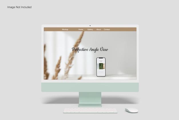 Angolo di vista frontale del mockup dello schermo del desktop