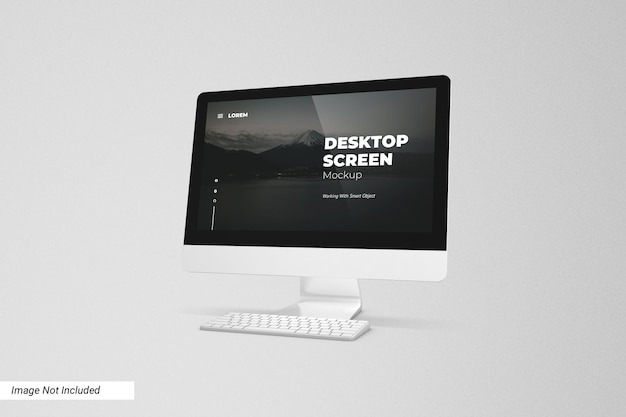 Vista frontale del mockup dello schermo del desktop