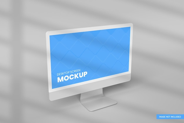 Mockup schermo desktop sfondo bianco nel rendering 3d