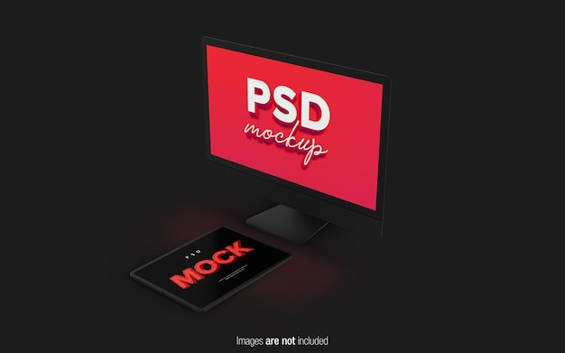 Mockup di desktop e tablet nel rendering 3d