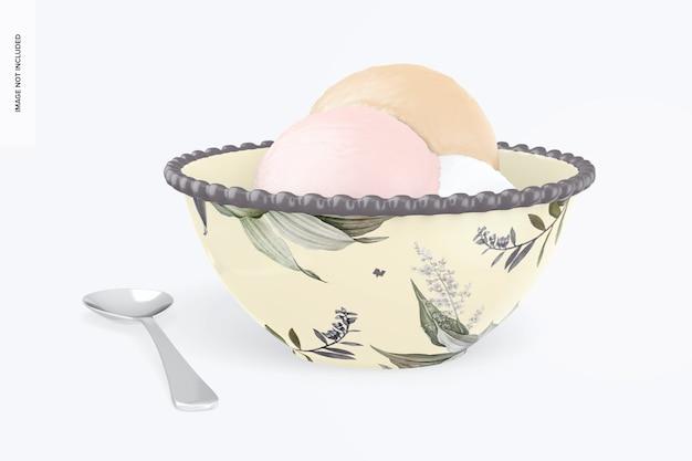 Ciotola da dessert con mockup di cucchiaio