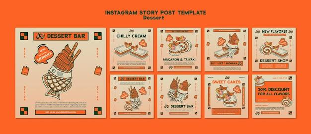 Post sui social media di dessert