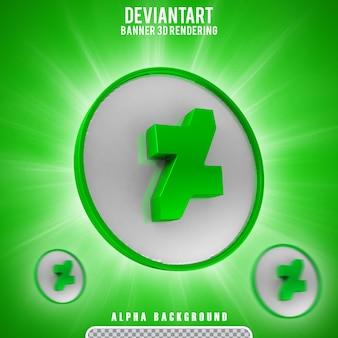 Rendering 3d del logo dell'icona di deviantart