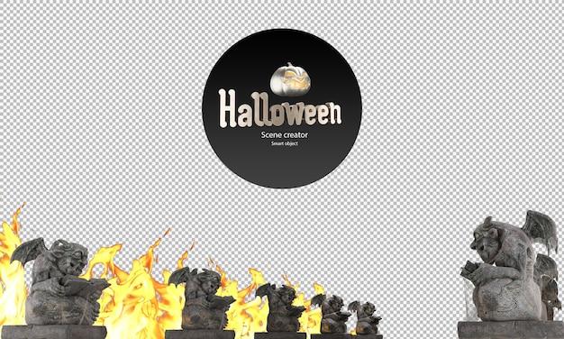 Statue del diavolo statue di demoni accanto alla passerella statue decorative di halloween