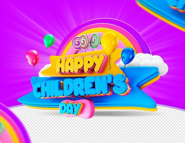 Dia das criancas in brasile felice giorno dei bambini etichetta elegante render