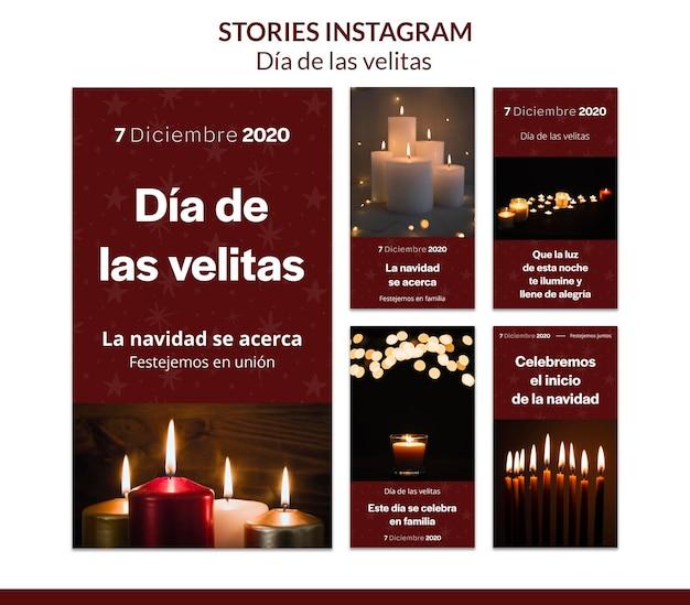 Dia de las velitas modello di storie di instagram