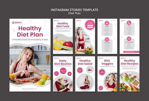 Modello di storie di instagram di piano di dieta