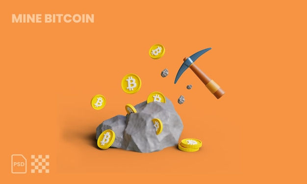 Scavare bitcoin dalle rocce con l'illustrazione 3d di piccone rocce bitcoin mining