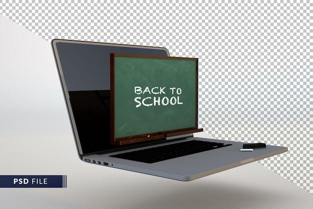 Concetto di ritorno a scuola digitale con computer 3d e sfondo isolato lavagna