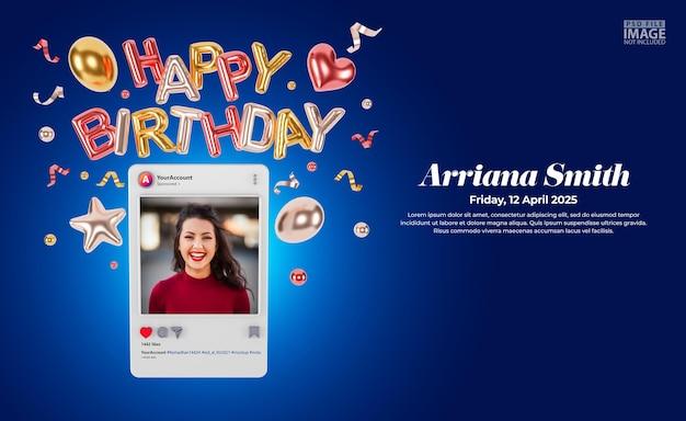 Inviti di compleanno digitali per mockup di post sui social media