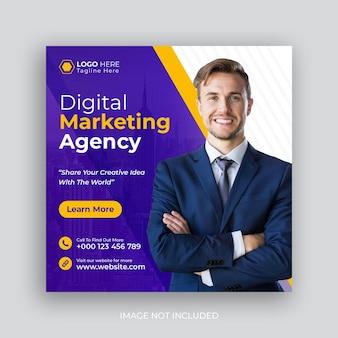 Post dei social media dell'agenzia di marketing aziendale digitale o banner web quadrato