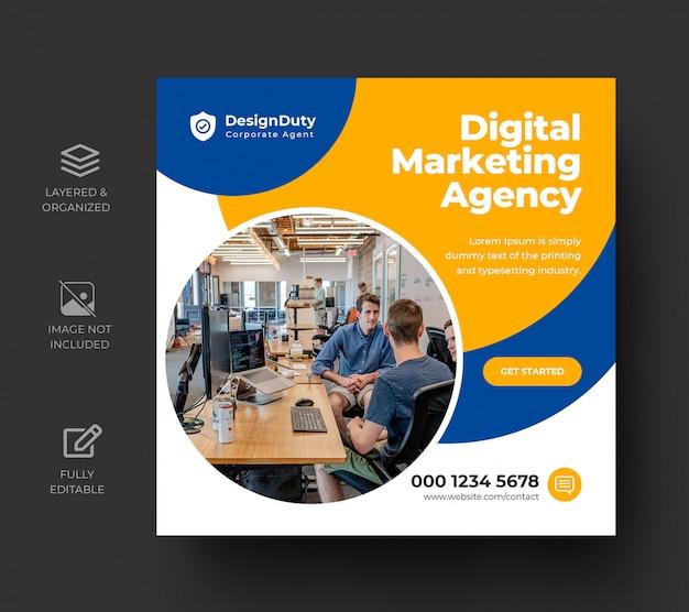 Modello di progettazione della posta di media sociali di promozione di marketing di affari digitali