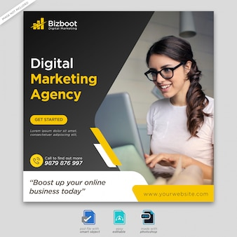 Banner di social media marketing digitale o flyer quadrato premium psd