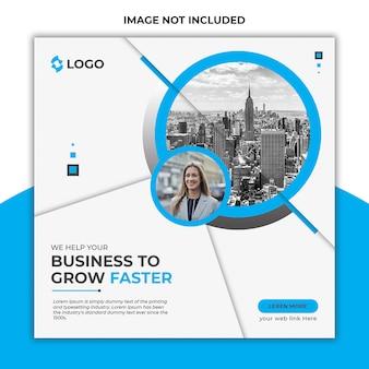 Banner di post di social media marketing social media e volantino quadrato