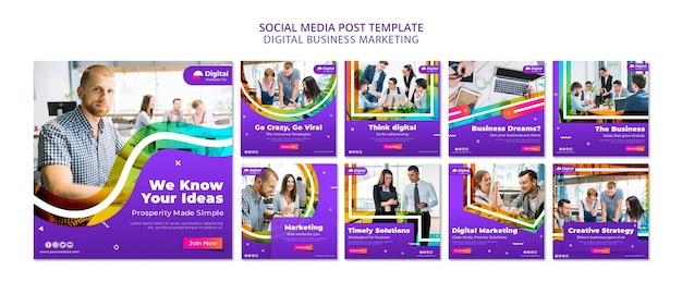 Post sui social media di marketing aziendale digitale