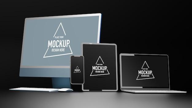 Dispositivi digitali con tablet computer e smartphone mockup rendering 3d dello schermo