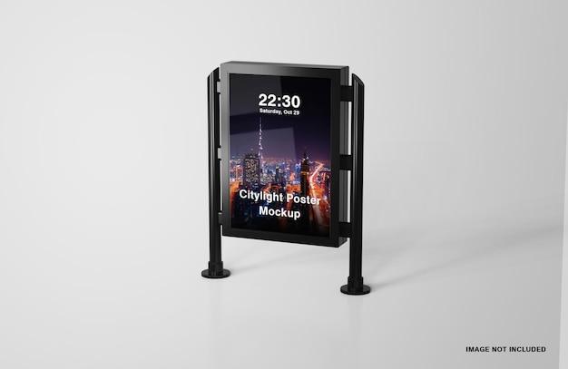 Mockup di poster digitale con luci della città a led