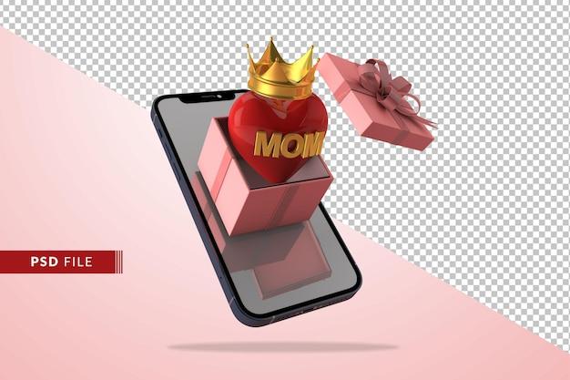 Concetto di amore digitale per la festa della mamma con confezione regalo in rendering 3d
