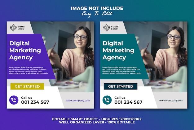 Modello di post sui social media banner agenzia di marketing digitale