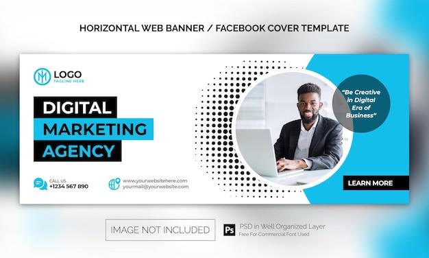 Banner orizzontale aziendale per agenzia di marketing digitale o modello pubblicitario per copertina di facebook facebook