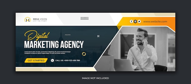 Modello di copertina di facebook per social media aziendali di agenzia di marketing digitale