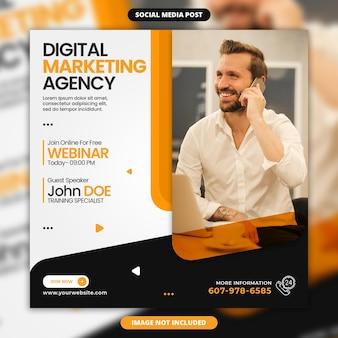 Agenzia di marketing digitale instagram post o modello di banner web quadrato