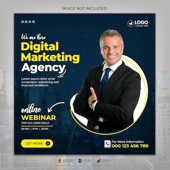 Webiner live dell'agenzia di marketing digitale e modello di post sui social media aziendali psd premium