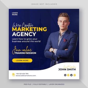 Webinar online dell'agenzia di marketing digitale o modello di post sui social media aziendali
