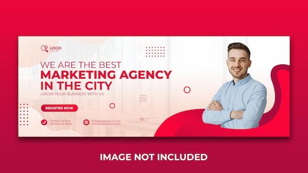 Modello di progettazione della copertina di facebook per la promozione dell'agenzia di marketing digitale sui social media