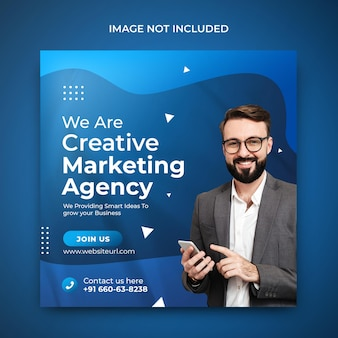 Agenzia di marketing digitale promozione social media instagram post in modello di sfondo blu
