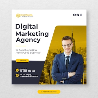 Agenzia di marketing digitale modello di post sui social media premium psd