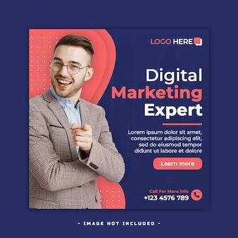 Agenzia di marketing digitale post sui social media e banner web o modello di volantino quadrato premium psd