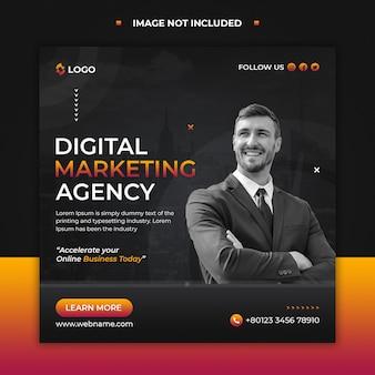 Modello di post sui social media e banner web dell'agenzia di marketing digitale