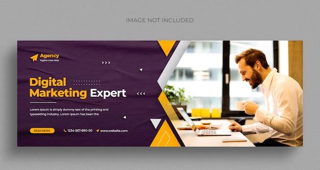 Volantino per banner web per social media dell'agenzia di marketing digitale e modello di design per foto di copertina di facebook