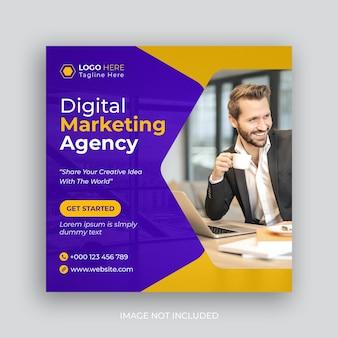 Banner web dell'agenzia di marketing digitale o post sui social media