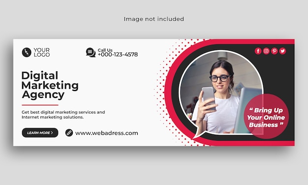 Modello di banner di copertina di facebook per attività di marketing digitale
