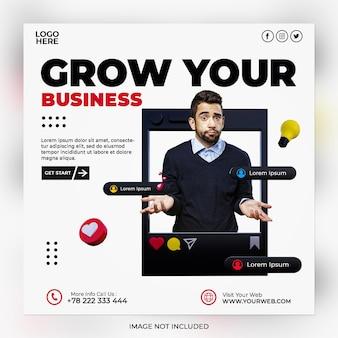 Strategie aziendali di marketing digitale e modello di post sui social media aziendali