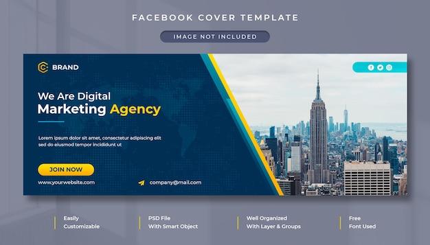 Modello di copertina facebook e banner web per agenzia di marketing digitale e business aziendale