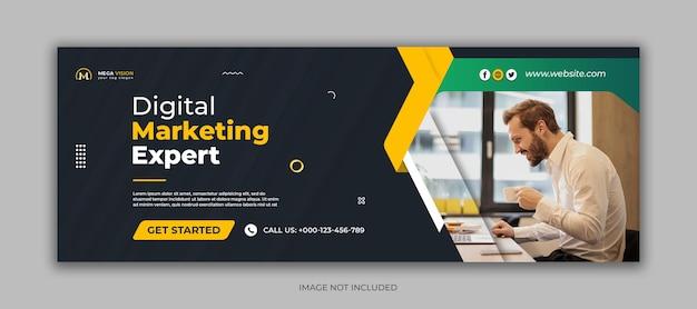 Modello di copertina di facebook per social media aziendali di marketing digitale