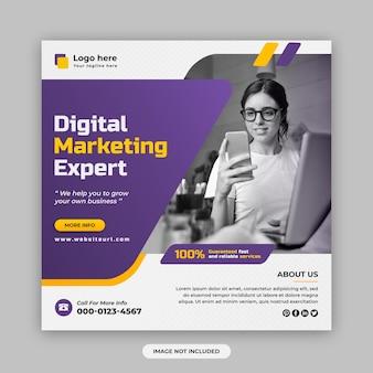 Marketing digitale e post sui social media aziendali e modello di progettazione di banner web