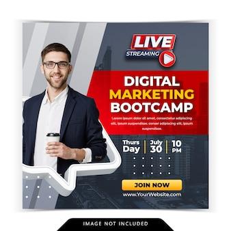 Corso di marketing digitale per social media instagram post template