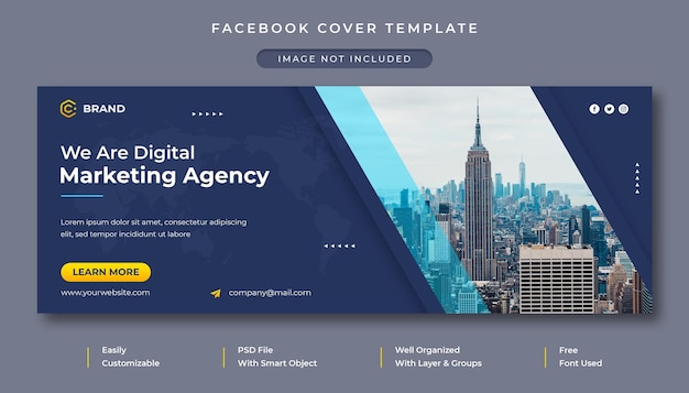 Modello di copertina facebook e banner web per agenzia di marketing digitale e business creativo