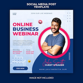 Webinar live di marketing digitale e modello di banner per post sui social media aziendali
